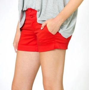 Summer Love Cherry Red Embroidered Cuff Shorts 13